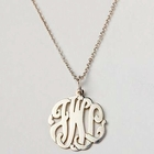 Initial Reaction Script Silver Monogram Necklace