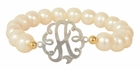 Jane Basch Gemstone Bead Monogram Bracelet