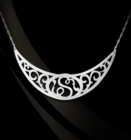 Jane Basch Lace Scroll Script Initial Collar Necklace