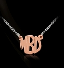 Jane Basch Mini Solid Gold Block Monogram Pendant