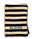 MJK Knits Personalized Striped Baby Blanket