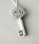 Monogram Key Lacy Script Necklace