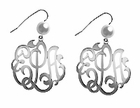 Monogrammed Disc Earrings with Pearl