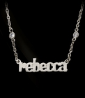Nameplate Block or Script Pendant with CZ Necklace