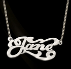 Nameplate Swirl Necklace by Jane Basch