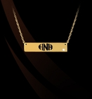 Pierced Cut Out Block Monogram Bar Necklace