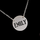 Satin Finish Pierced Disc Diamond Name Necklace