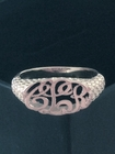 Silver Oval Cut Out Monogram Signet Ring
