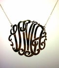 Solid 14K Gold Script Monogrammed Pendant Necklace