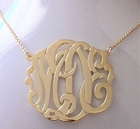 Solid 14K Gold Script Monogram Necklace