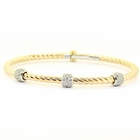 Twisted 14K Gold Rope Diamond Bangle Bracelet