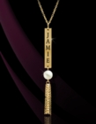 Vertical Pierced Bar Long Chain with Tassel