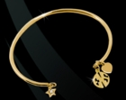 Wire Open Cuff  Bangle Monogram Charm Bracelet