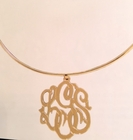 Wire Collar Monogram Pendant Necklace