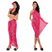 Abstract Rose Flower Pattern Sarong in Hot Pink