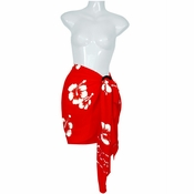 Hibiscus Half Sarong in Red / White - Fringeless