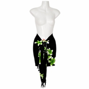 "Plumeria Mini Sarong ""Green / Black"""