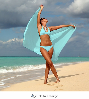 Solid Colored Sarong in Light Turquoise