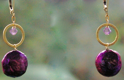 Plum Coin Pearls with a Dash of Bling