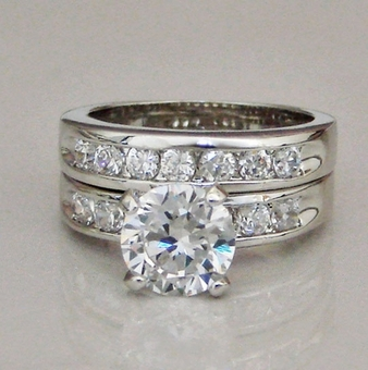 ABSOLUTE CZ CUBIC ZIRCONIA<BR>WEDDING BRIDAL BAND RING - Size 6, Size 7, Size 8
