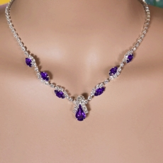 ANGELINE PURPLE RHINESTONE BRIDESMAIDS JEWELRY SET