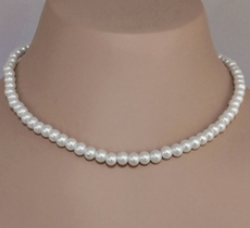 BEATRICE 3PC WHITE FAUX WEDDING PEARL SET - NECKLACE, BRACELET, EARRINGS