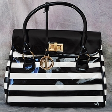 BLACK AND WHITE STRIPED PATTEN LEATHER PURSE with INSIDE CLUTCH