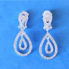 DOUBLE RAINDROP RHINESTONE CLIP-ON EARRINGS
