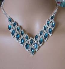 EXCITE TEAL GREEN RHINESTONE JEWELRY SET - TEMP SOLD OUT