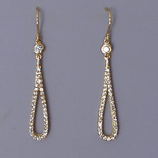 HERE WE GO LOOP 'D LOOP CZ GOLD EARRINGS