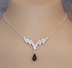 INDULGE PURPLE RHINESTONE NECKLACE SET