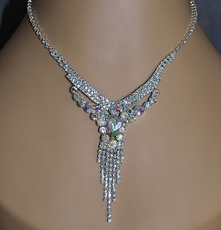 KASIE RHINESTONE SILVER NECKLACE SET