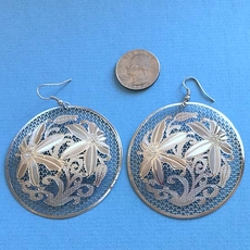LARGE SILVER DISC EARRINGS - ONE REMAINING PAIR