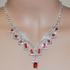 LEGACY RED RHINESTONE BRIDESMAIDS JEWELRY SET