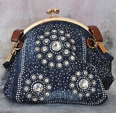 OVAL TOP DENIM PURSE