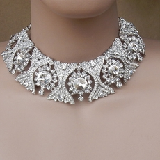 OVER THE TOP RHINESTONE WEDDING JEWELRY CHOKER SET - SOLD OUT