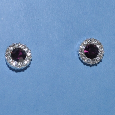 PURPLE CIRCLES  RHINESTONE EARRINGS
