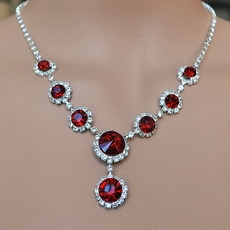 Red Rhinestone Jewelry Sets for Bridesmaids