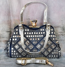 RHINESTONE DENIM BASKETWEAVE PURSE