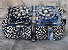 RHINESTONE DENIM FLIP-OVER PURSE