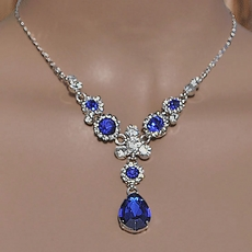 SIMPLE PLEASURES ROYAL BLUE RHINESTONE JEWELRY SET