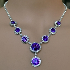 SIMPLY CIRCLES PURPLE RHINESTONE JEWELRY SET FOR YOUR BRIDESMAIDS