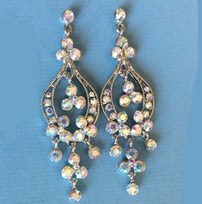 ULTRA RHINESTONE CHANDELIER AB-REFLECTIVE EARRINGS - TWO REMAINING