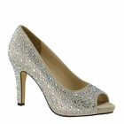 "Eliza Shoes by Touch Ups 3 1/2"" heel Champagne, White, Silver 5-12"
