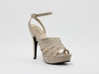 "Sandra by Coloriffics 5"" heel in nude, silver size 5 1/2-11"