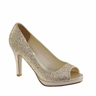 Sari shoes by Dyeables, champagne, silver, black 5-11