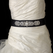 Dazzling Crystal Beaded Black Satin Wedding Dress Belt