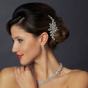 Diamond White Pearl and Rhinestone Wedding Hair Clip