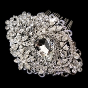 Exquisite Rhodium Plated Rhinestone Hair Comb