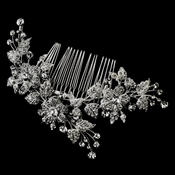 Rhodium Plated Rhinestone Floral Vine Wedding Comb